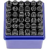 Juego de letra sello Punch, 36pcs Punzones con letras números de acero al carbono/Letra maiuscola Escoplo impostato para metal plástico piel 6mm