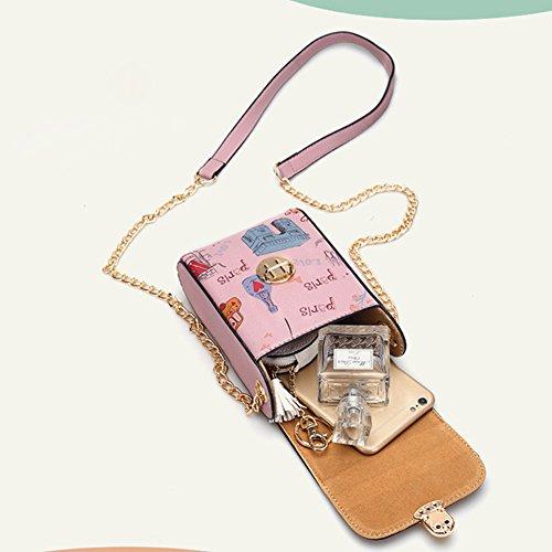 Téléphone Sac,Vandot 2in1 PU Cuir Mini Pochette Universal Case (180mm*120mm*20mm) pour iPhone 7(4.7)/7 Plus(5.5)/6S(4.7)/6S Plus(5.5)/SE/5/5S,Galaxy S3/S4/S5/S6/S7edge/Note 3/4/5 Housse Hippie Style P Chaîne-Bleu