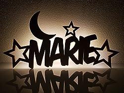 """Schlummerlicht/Nachtlicht""""Mond und Sterne"""" - personalisiert mit Namen - Optional mit Zugschalter und/oder Lackierung"""