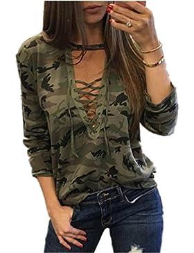 Camicetta Estiva,Kword Elegante Donna Manica Lunga Camicia Slim Casual Camicetta Mimetica Stampa Top