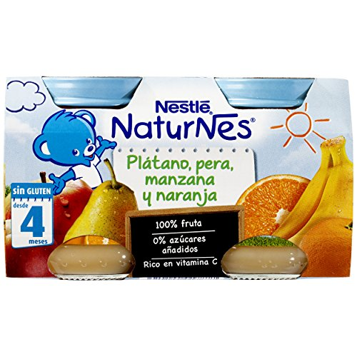 Nestlé Naturnes Alimento Infantil Plátano, Pera, Manzana y Naranja - Paquete de 2 x 130 gr - Total: 260 gr