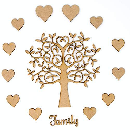family tree set kit mdf tree 12 x hearts and family wording make