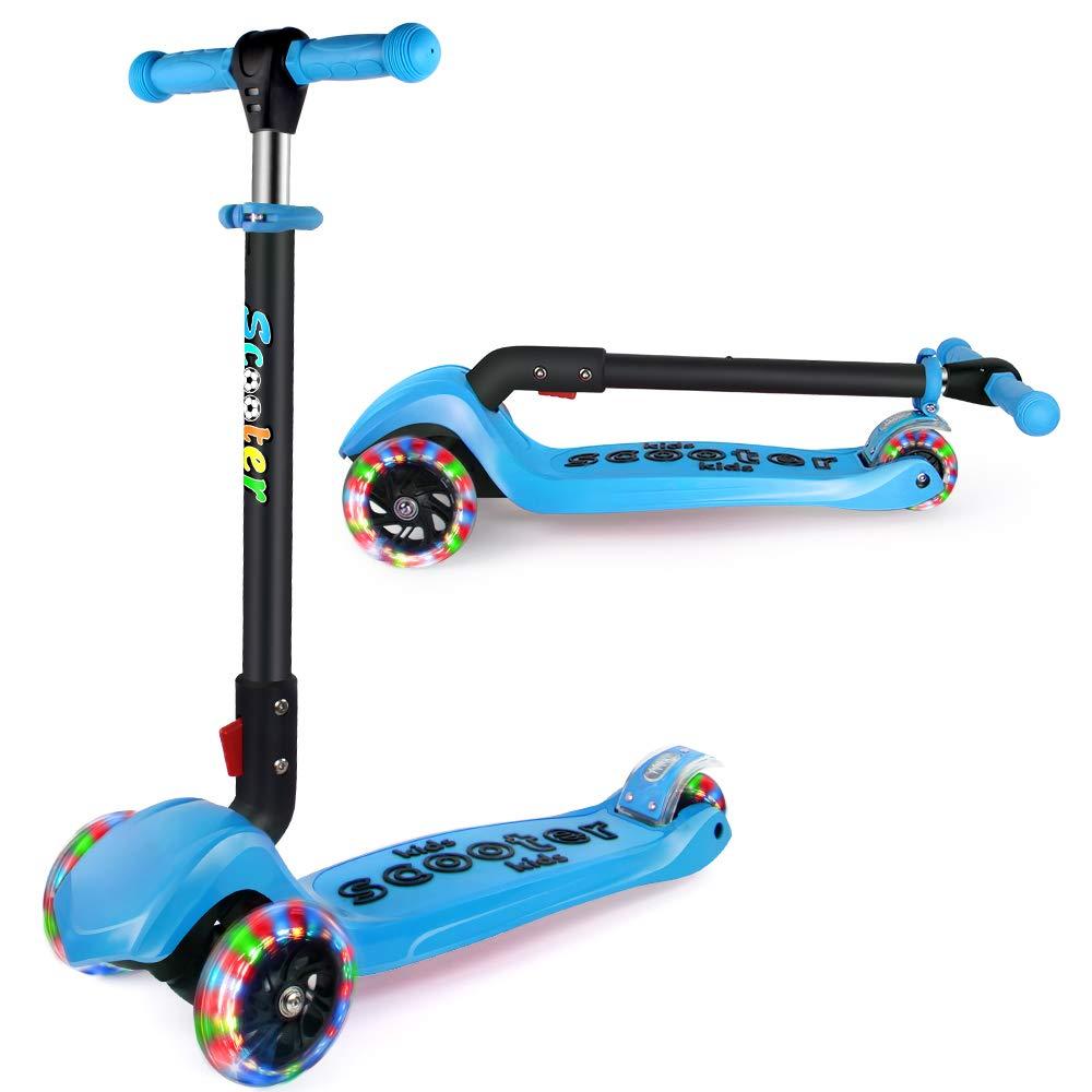 BELEEV Patinete de 3 Ruedas para Niños de 3 a 12 Años Scooter 3 Wheels con Luces LED, Barra Ajustable, Kick Scooter for Girl Boy(Azul)