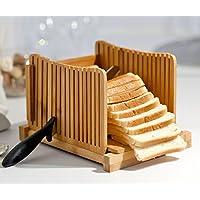 """Kenley - Cortador de pan de bambú para pasteles caseros, compacto, ajustable, plegable, cortador con tabla de cortar y guía para cortar cuchillos – grueso y delgado rodajas de 1/3"""", 3/8"""" y 1/2"""""""