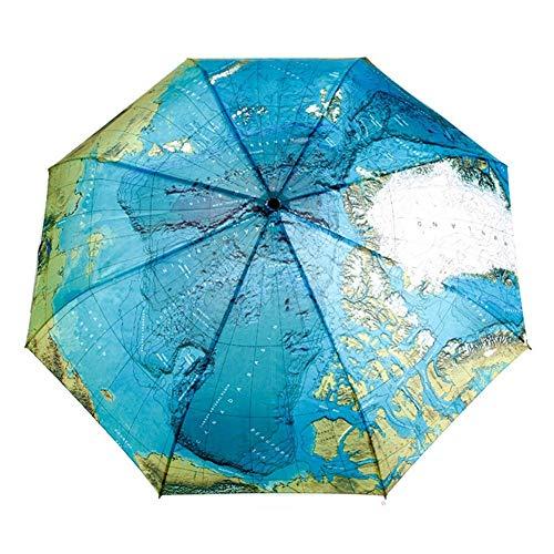TWSJHGFV Weltkarte Folding Automatikschirm Winddicht Frauen Große Winddicht Regenschirme Für Männer Blau Taschenregenschirm (Cap Weltkarte)