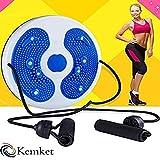 Kemket Magnetischer Taillen-Twister, Fitnessscheibe, Massage, rund, mit Handseilen und ohne Seile, Fuß-Massagegerät, Stepper, Wackel-Teller, blau