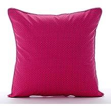 55x55 cm Fundas De Almohadas Decorativas, Rosado Fucsia Cojines Para Cubrir El Sofá, Con Textura A Cuadros Color Sólido Cuero De Imitación Fundas De Almohada - Pink Pulp