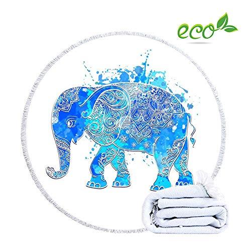 Morbuy Strandtuch Mikrofaser Elefant Rund Groß Kinder Mädchen Damen, Mandala Badetuch Gedruckt Quaste Schnelltrocknendem Multifunktional Tischdecke Picknickdecke (150cm/59in,Blaue Sprühfarbe)