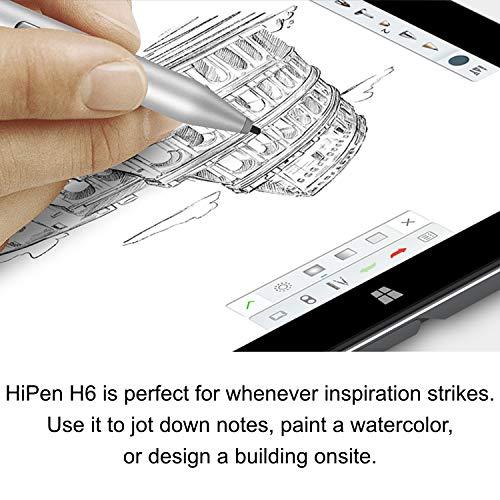 CHUWI HiPen H6 Touch Stylus para tabletas,  4096 Niveles de sensibilidad a la Presiš®n,  Compatible con Surface Pro/Laptop Series,  Surface Studio Etc (Plateado) ¡Tablet pc Windows 10 (Hi6 Pen)