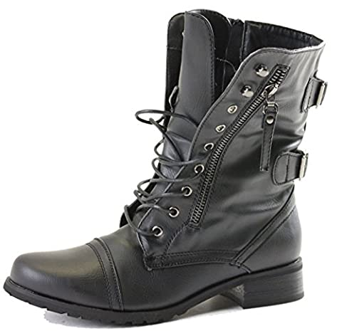 Ladies Womens Girls Flat Army Combat Biker Military School College Vintage Ankle Boots Size New 3-8