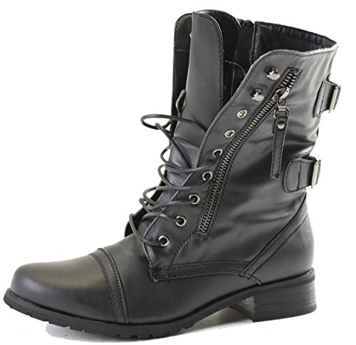 Womens Ladies Girls Low Heel Flat Pixie Vintage Biker Chelsea Lace Up Combat Military Army Ankle Boots Style F Black 4