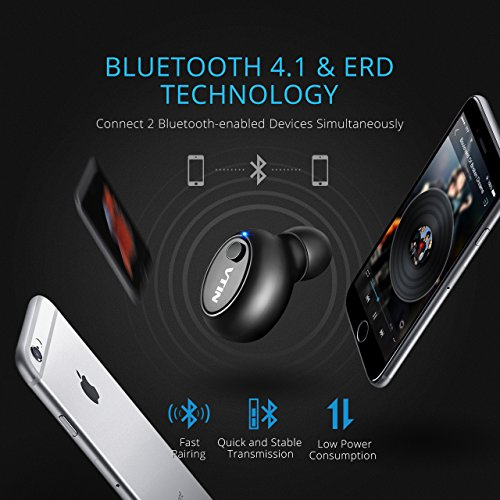Bluetooth Earpiece, VicTsing Mini Bluetooth Handsfree 4.1 with EDR In Ear Headphone Headset Earbud Earphone with Microphone Noise Cancelling for Samsung S8, iPhone 7, 7 Plus, 6S, 6S Plus, 6, 6 Plus, SE, 5S and Android Smartphones