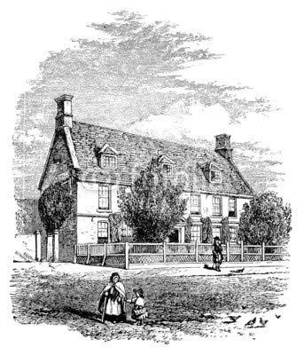 adrium Alu-Dibond-Bild 90 x 110 cm: 19th Century Engraving of a Village House, UK, Bild auf Alu-Dibond - 19th Century Engraving