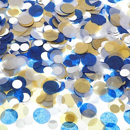 TecUnite Runde Seiden Papier Tisch Konfetti Punkte für Hochzeit Geburtstag Party Dekoration, 1,76 Unzen (Blau Gold Konfetti, 2,5 cm) -