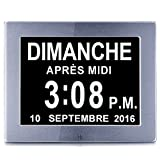 OLDTIME® 8 Pouce LCD Horloge Numérique Calendrier avec Date, Jour Et Heure | Horloge Alzheimer | C'est pour Les Parents, Grands-Parents Et Enfants