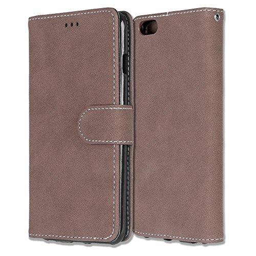 Solid Color Premium PU-Leder Tasche Cover matt Retro Flip-Ständer Case Wallet Fall mit Kartensteckplätze Foto Frames für Apple IPhone 6 6s Plus ( Color : 6 , Size : Apple IPhone 6 6s Plus ) 3