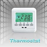 VINGO®LCD digitales Thermostat mit 3m Sensor Raumthermostat max 16A Fußbodenheizung, grün Hintergrundbeleuchtung