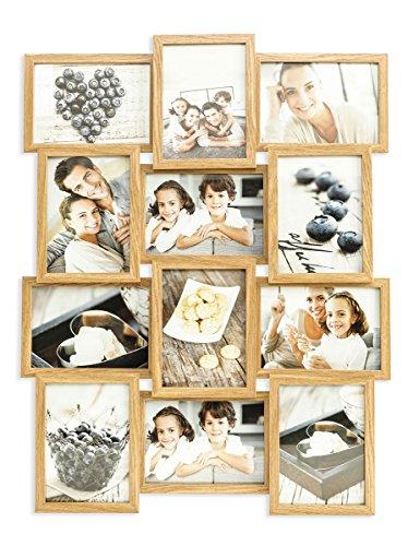 levandeo Holz Bilderrahmen Farbe: Eiche natur braun hochwertig verarbeitet für 12 Fotos 13x18cm mit Glasscheiben - Querformat und Hochformat Fotogalerie Collage Fotocollage Bildergalerie Fotorahmen