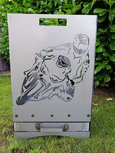 Gartendeko Fockbek Feuerkorb inkl. Aschefach und Zwischenboden sehr stabil Maße ca. 40x40x60 cm (Motiv Motorrad/Flammen)