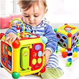 #4: GoAppuGo 6-in-1 Educational Activity Toy for 1 2 3 year old boys girls kids babies (10 pcs shapes sorter, phone, musical piano, key, mirror) learning toys, musical toys, baby birthday gifts