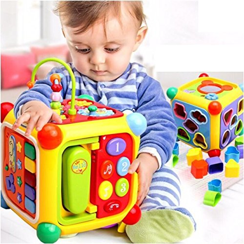 GoAppuGo 6 In 1 Educational Activity Toy For 2 3 Year Old Boys Girls Kids Babies 10 Pcs Shapes Sorter Phone Musical Piano Key Mirror Learning Toys