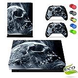 Xbox One X Skin Sticker, Morbuy Designfolie Vinyl-Folie Aufkleber für Konsole + 2 Controller Aufkleber Schutzfolie Set +10 pc Silikon Thumb Grips (Weißer Schädel)