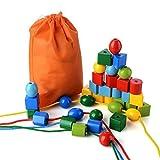 PovKeever 36 Perline allacciatura Jumbo Perle primarie bambini e bambine I giocattoli educativi Montessori includono 4 corde e borsa per il trasporto,Come un grande giocattolo ragazzi e ragazze Età 3+