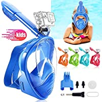 JHuuu Snorkel Mask Full Face for Kids, Colourful Children Diving Mask Swimming Snorkel Equipment, Silicone Seal Anti-fog Anti-leak with 180° View, Detachable Mount, Adjustable Head Straps (Blue)