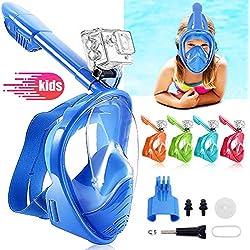 HINATAA Masque de Plongée pour Enfant, Couleur Masque Snorkeling Plein Panoramique Visage 180°Visible, Protection Anti-Fog Anti-Fuite Sécuritaire Compatible GoPro, pour Enfants 4-12 Ans (Bleu)