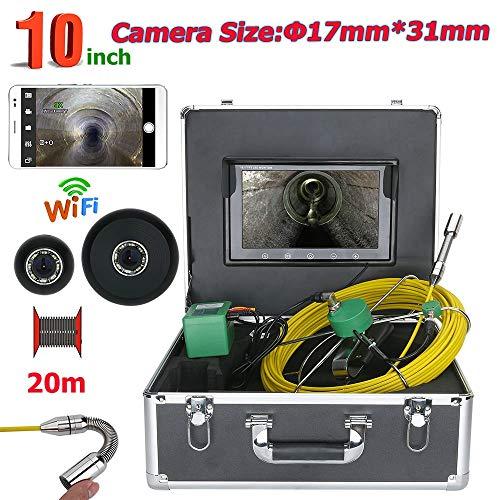 WIFI Rohr Inspektionskamera Abwasserkanal Industrie Endoskop Schlangen Video Inspektionssystem wasserdichtes IP68 mit 10 Zoll LCD-Monitor 1000TVL CCD-DVR-Rekorder Unterstützung für Smartphone -