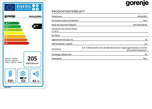 Gorenje RK61620RD Kühl-Gefrier-Kombination / A++ / Höhe 162 cm / Kühlen: 232 L / Gefrieren: 53 L / Feuerrot / Innenbeleuchtung / 4 Glasabstellflächen