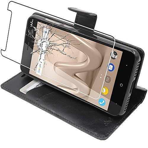 Ebeststar - cover wiko lenny 4 [145 x 72.2 x 9.1mm, 5.0''] custodia portafoglio in pelle sintetica protezione libro flip, nero + pellicola vetro temperato