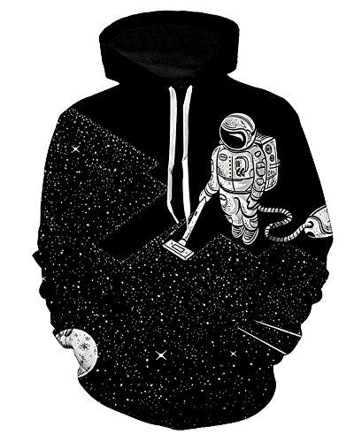 Pullover Halloween (Minetom Damen Herren 3D Druck Kapuzenpullover Unisex Sweatshirt Weihnachten Halloween Pullover Mit Kapuze Digitaldruck Pulli Schwarz A EU)