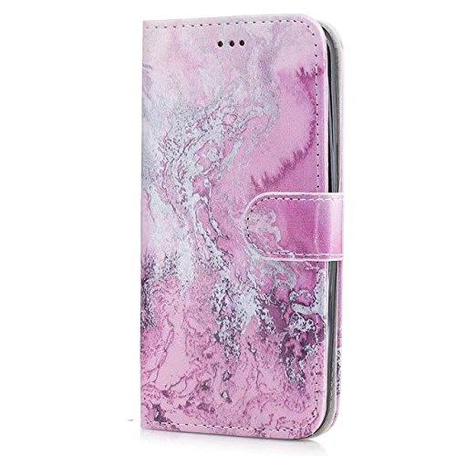 Samsung Galaxy J5 Hülle, Chreey Marmor (Marble) Serie Muster Premium PU Leder Schutzhülle Brieftasche Flip Handyhülle [Rosa Meereswellen] (Handy Zoll Unlocked Samsung 5)