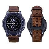iBazal 20mm Armband Leder Ersatz Kompatibel Samsung Galaxy Watch 42mm/Huawei Watch 2/Samsung Gear S2 Classic/Gear Sport/TICHWATCH 2/Garmin Vivoactive 3/Vivomove HR Smart Watch Etc. - Simple Braun