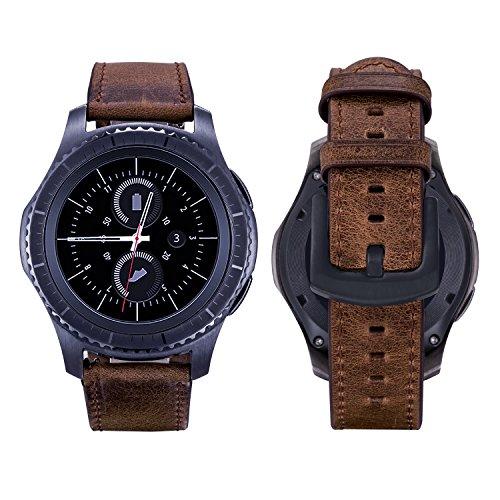 Braun Series 3 360 (Gear S2 Classic Armband, iBazal Gear S2 Classic Uhrenarmband 20mm Echtes Lederband Ersatzteil Band für Samsung Gear S2 Classic SM-R732/ SM-R735 [Vintage Serie] - Simple Braun)