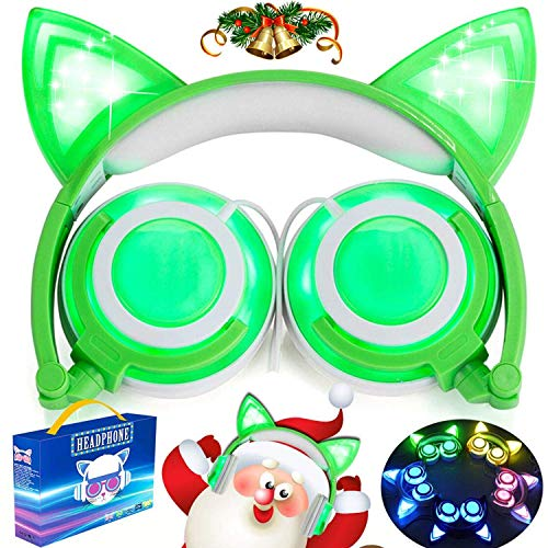 Cascos con cargador USB, plegables, en diseño de orejas de gato, con cable ajustable, luz flash azul, para teléfonos móviles iPhone 7, 6S, iPad, Android y Macbook, verde