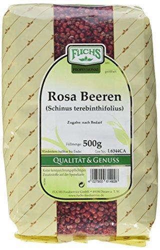 FUCHS Roter Pfeffer ganz,(Rosa Beeren) 1er Pack (1 x 500 g) - Rote Pfefferkörner