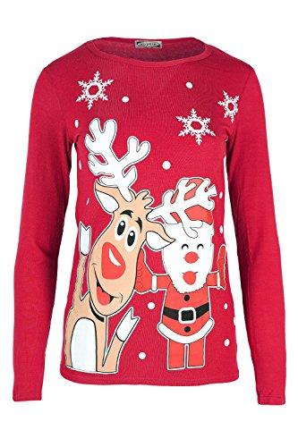 Kinder Weihnachten Rudolph Rentier Vater Santa Schneemann Gesicht Bedruckt Langärmlig Rundhals Kostüm Lustig Pullover Schlitten Schlitten Top Weihnachten T-shirt - Rot, 5-6 (Rudolph Kostüme Kinder)