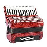 Boquite Fisarmonica, Rosso Professionale 34 Tasti 48 Pianoforte a Fisarmonica Strumento per fisarmonicista per Principianti Adulti per Principianti