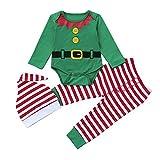 Infantil Disfraz Navidad Fossen Recien Nacido Niña Niño Bebe Monos Tops y Pantalones de Raya + Sombrero (18-24 Meses, Verde)