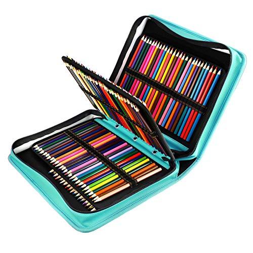 180 Slots PU Leder farbigen Bleistift Fall – Großes Fassungsvermögen, der Fall für Prismacolor Aquarell Bleistifte, Crayola Buntstifte, Marco Stifte von YOUSHARES (Grün)