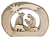 Kaltner Pr�sente Geschenkidee - Weihnachtskrippe Krippe aus Holz mit Jesus, Maria und Kind in einem Baumstamm mit Rinde