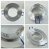 IP44 Aluminuim-Einbaustrahler - Alu-gebürstet - rund - Badezimmer / Feuchtraum geeignet - nicht schwenkbar - Deckenstrahler - Deckenlampe - Einbaulampe - für LED GU10 und LED MR16 sowie LED GU5.3