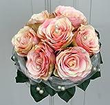 Unbekannt Brautstrauß Biedermeier Seidenblumen Strauß Hochzeit mit lachs Rosen #41243