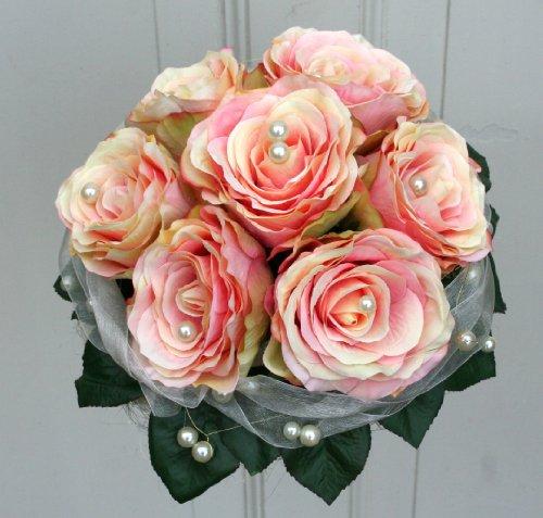 FRI-Collection Brautstrauß Biedermeier Seidenblumen Strauß Hochzeit mit lachs Rosen #41243