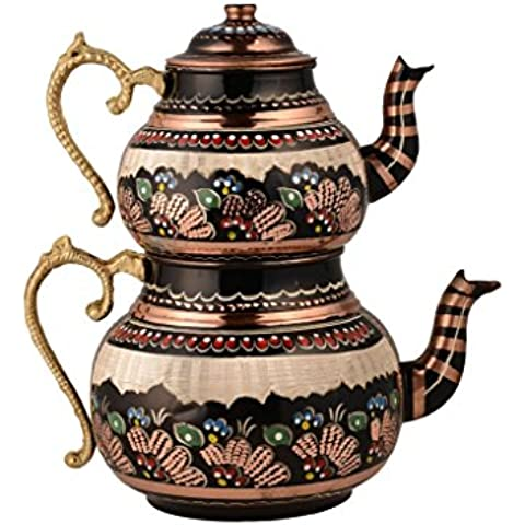 Color Unique Handmade Chisel Engraved Hammered 100% Solid Copper Polished Tea set Kettle set