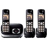 Panasonic KX-TG6523EB DECT Trio Digital Cordless Phone Set with Answer Machine - Black