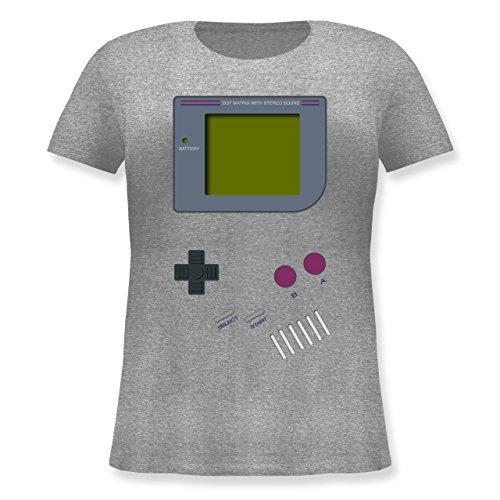 Nerds & Geeks - Gameboy - L (48) - Grau meliert - JHK601 - Lockeres Damen-Shirt in großen Größen mit Rundhalsausschnitt (Kostüm Frauen Tron)