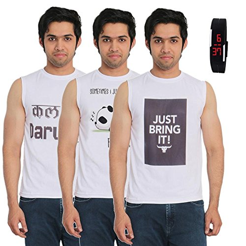 Fashion Bit 3 Multicolour Printed T-Shirts with a Digital Watch Combo Pack